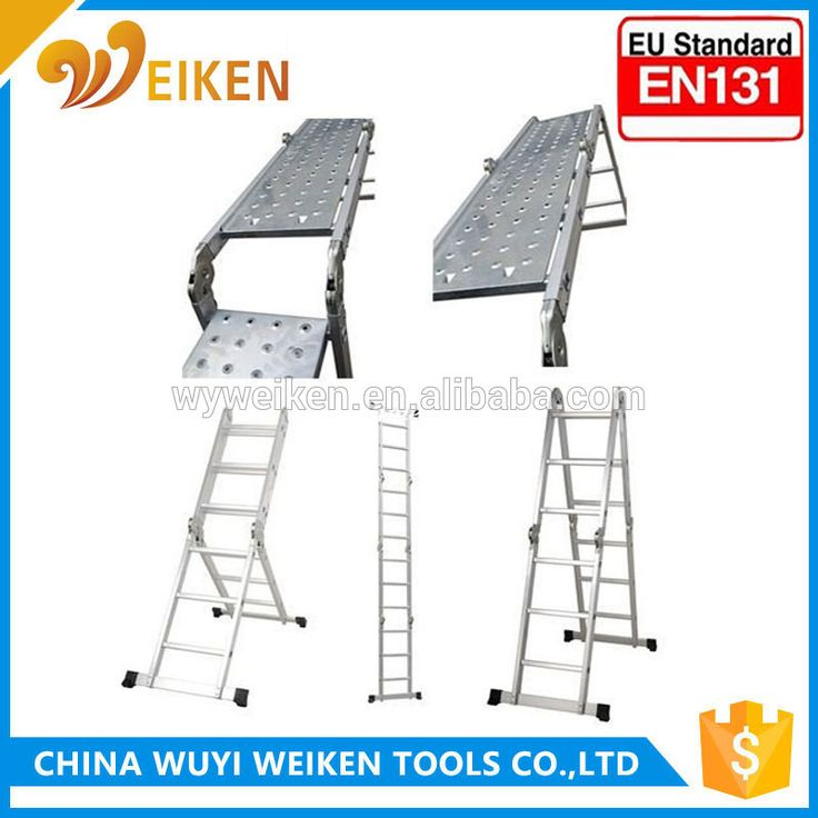 en131 approved steel hinge Aluminum Multipurpose Ladder with movable stairs