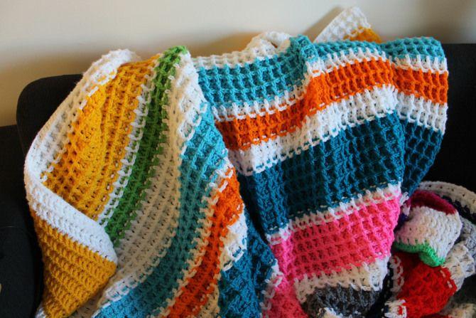 Waffle Knitting Pattern Blanket : 19 best Crochet-waffle stitch images on Pinterest