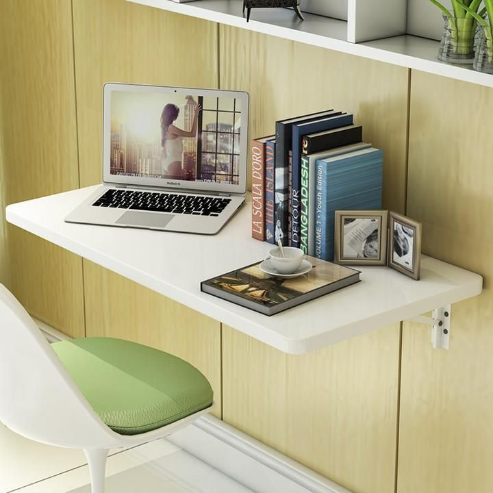 White Wall Mount Floating Folding Computer Desk Home Office PC Table Well Made #Unbranded