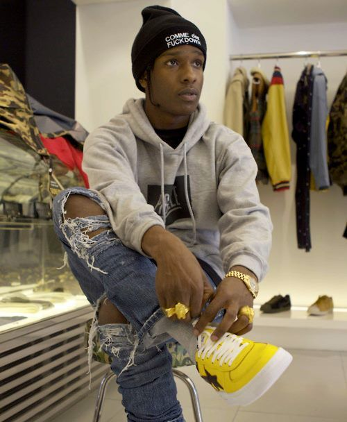 ASAP Rocky Damn now I want some yellow shoes ;