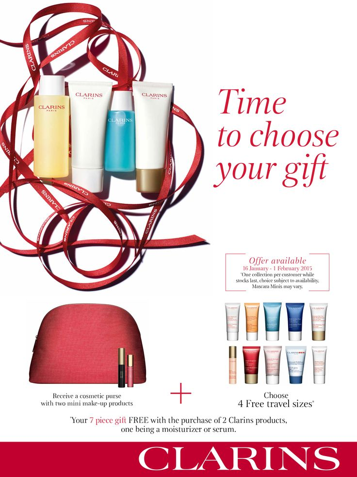Receive a 7 piece gift set when you purchase 2 Clarins products (one of which must be a moisturiser or serum). Make use of this offer from 16 January - 1 February 2015. Available at all stores except Game City (Maseru) and Maerua Mall (Windhoek) @clarinsint