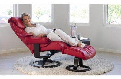 Paradise Hvilestol Stuffed Armchair Red Leather Norwegian