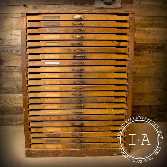 Vintage Industrial 22 Drawer Wooden Flat File Cabinet