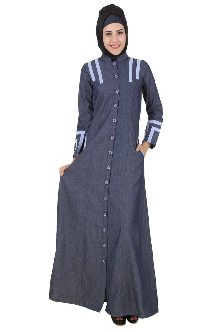 MyBatua Widad Blue Cotton Denim Jilbab | Available in sizes XS to 7XL, lenth 50 to 66 inches.  Buy link : https://www.mybatua.com/catalogsearch/result/?q=widad+blue+cotton+denim+jilbab