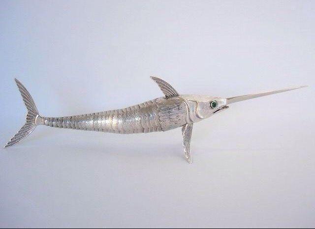 Online veilinghuis Catawiki: Groot zilveren tafelstuk zwaardvis, Spanje, ca. 1939