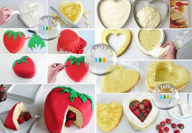 Cómo Hacer Una Tarta Piñata Con Forma De Fresa. Las tartas piñata se están poniendo súper de moda en los cumpleaños infantiles. La idea es súper fácil