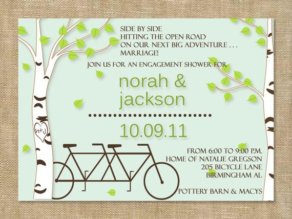 Bicycle and tree themed wedding invitation