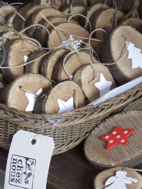 déco bois et fimo ! Die Holzscheiben am besten jetzt schon schneiden, damit sie bis zum Advent richtig trocken sind!