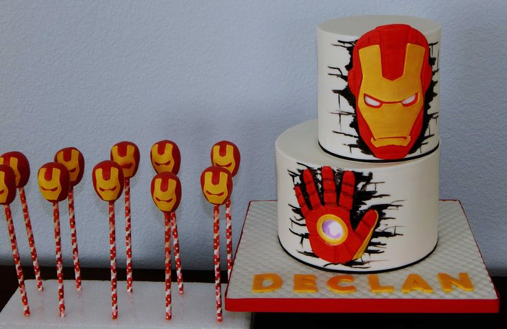Iron Man cake and cakepops