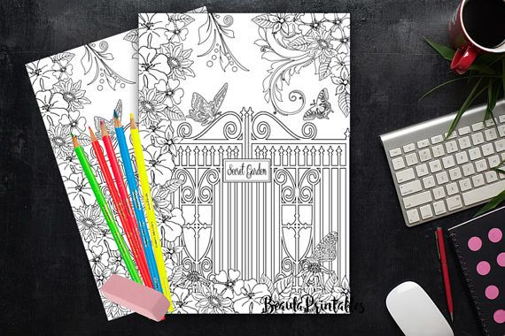 Coloring Page for Adults & Kids Secret Garden Printable Art