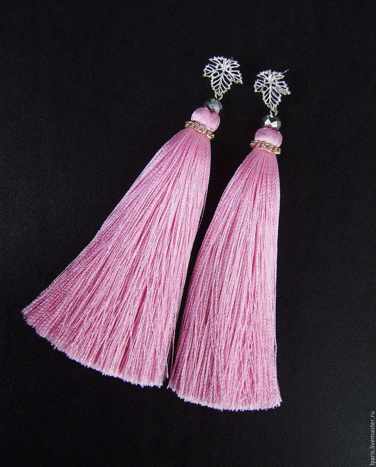 Купить Серьги кисти розовые Princess, шелковые сережки кисточки - серьги кисти