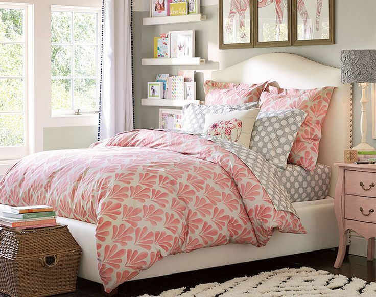 Grey pink white color scheme teenage girl bedroom ideas - Teenage girl bedroom decorations ...