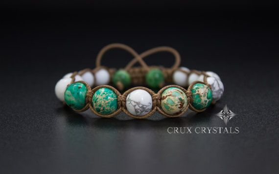 Emperor's Power Natural Stone Shamballa Bracelet by CruxCrystals, $22.00