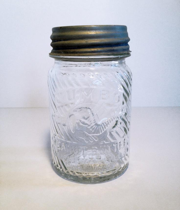 Jumbo Peanut Butter Vintage Glass Jar with lid. $20.00, via Etsy.