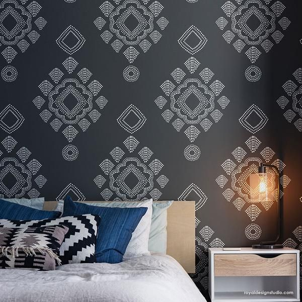 Large Stencils Damask Lace Wallpaper Wall Design Bohemian Stencils Royal Design Studio Wall Stencils Wall Wall Stencil Patterns Stencil Painting On Walls