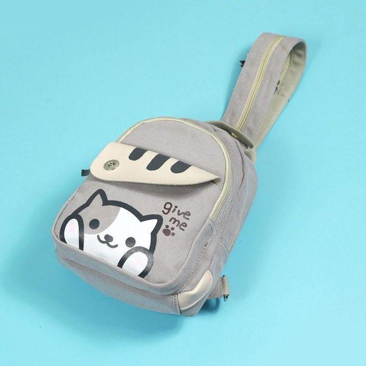 "Grey Striped ""Give Me"" Neko Atsume Kitty Cat Shoulder Backpack Bag SD00455"