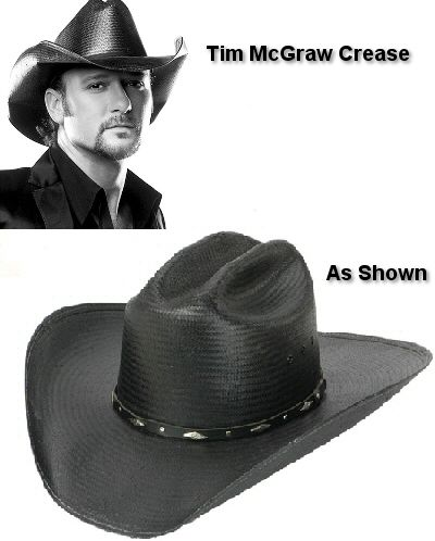 "Mens Cowboy Hats Resistol 6X Black Mountain 4 1/4"" Brim Straw Cowboy Hat. It looks AWESOME with the Tim McGraw crease!!"