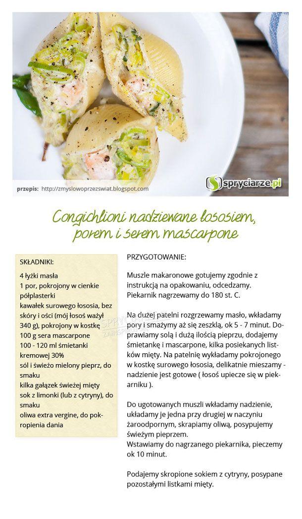 Przepis na cangichlioni nadziewane łososiem, porem i serkiem mascarpone