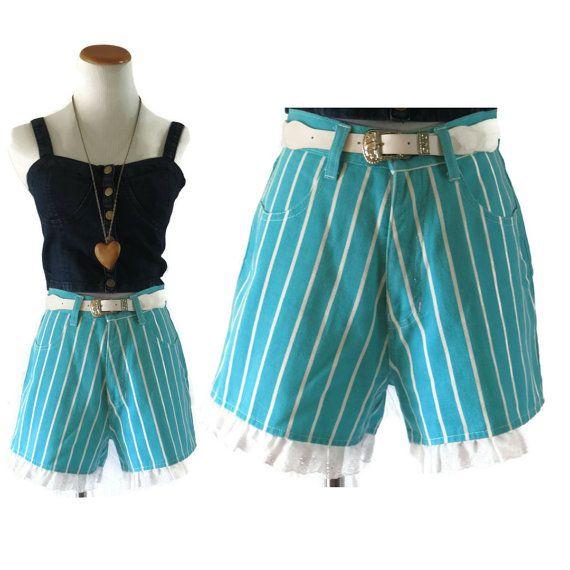 High Waisted Denim Shorts / 80s Shorts / Denim by GoodLuxeVintage