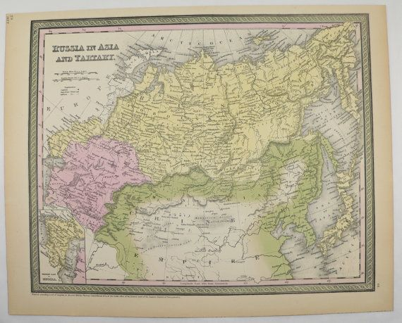 Antique Russia Map Siberia Mongolia 1855 Mitchell Map Old World Travel Map Gift Idea for the Home Decor Russian Collectable Map Wall Map Art by OldMapsandPrints on Etsy