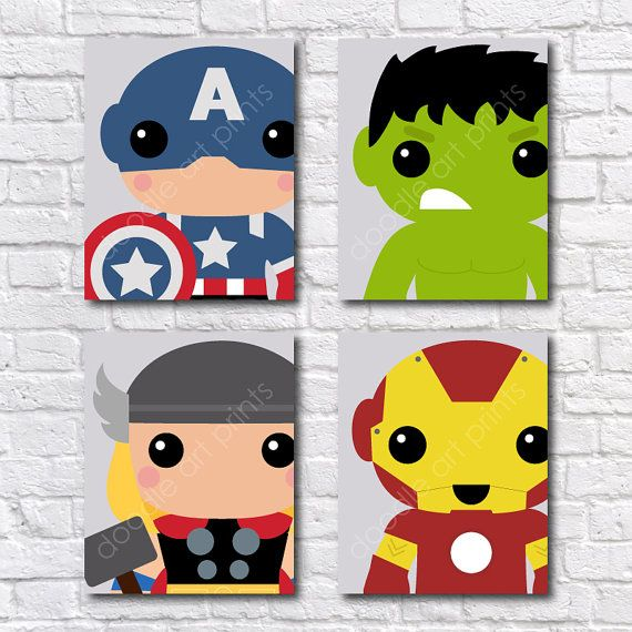 Super Heroes Avengers Art Print BUNDLE  Captain by DoodleArtPrints