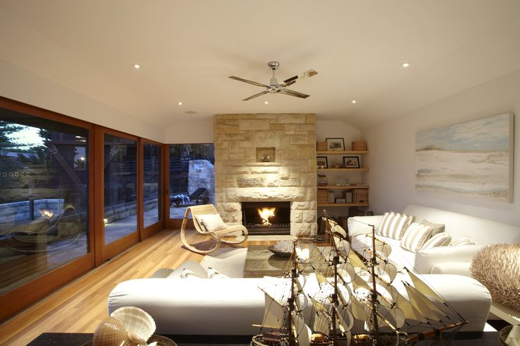 images of beach cottage fireplaces | House (Cottage Pt): 5 bedrooms + beautiful open sandstone fireplace ...