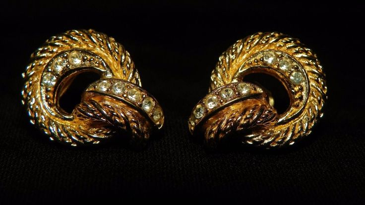Authentic Pair Of Vintage Christian Dior Designer Signed Pierce Earrings Textured Gold Tone Door-Knocker Design w/ Clear Rhinestones Jewelry by MINEMIOMY on Etsy
