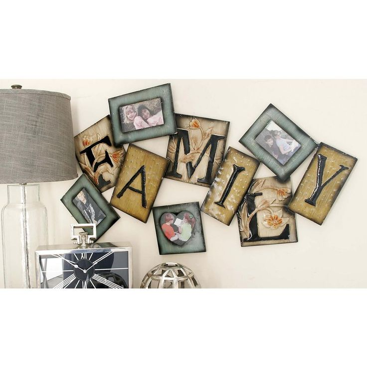 """41 in. x 23 in. New Traditional Iron """"Family"""" Tile Montage Photo Frame, Multi"""