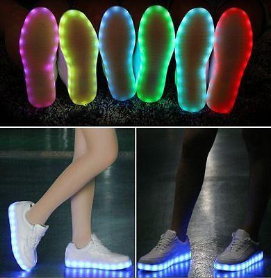 LED Schuhe Weiss Farbwechsel RGB USB LEUCHTSCHUHE*TANZSCHUHE*SNEAKER*H QUALITÄT*