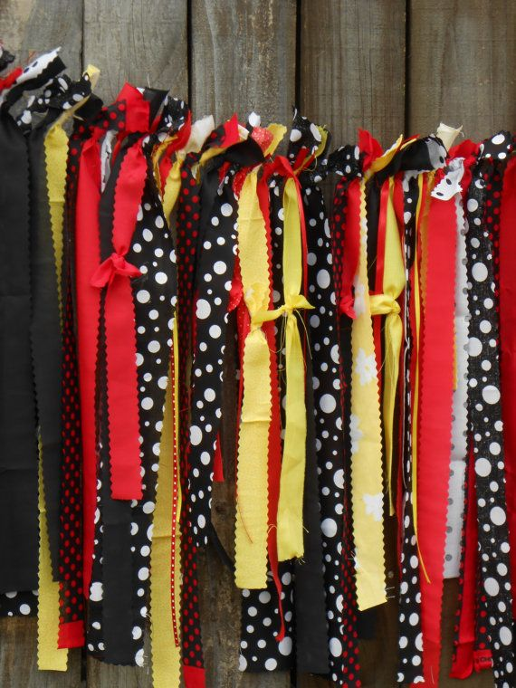 Mickey Mouse Disney Inspired Fabric Garland Banner Smash Cake Room Decor First Yellow Red Black White Girl Boy Birthday Clubhouse RTS on Etsy, $32.00