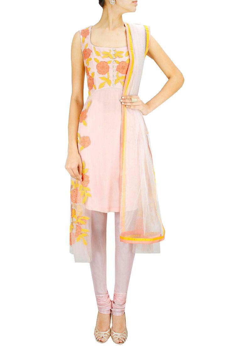 Baby pink floral patchwork net overlay kurta set. BY SHEHLA KHAN. Shop now at: www.perniaspopups... #perniaspopupshop #designer #stunning #fashion #style #beautiful #happyshopping #love #updates