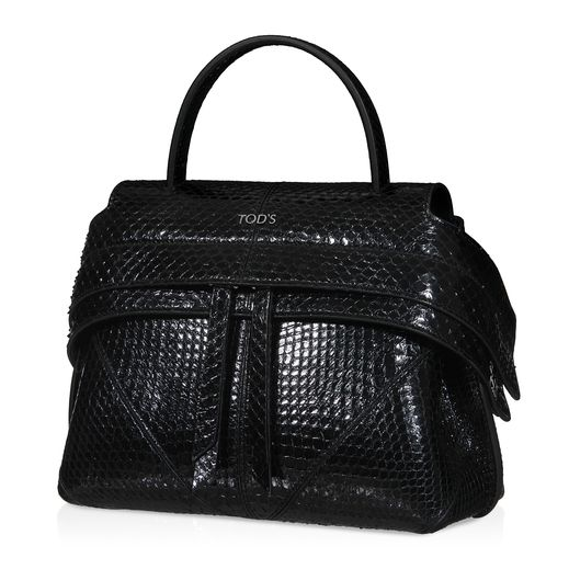 Tod's Micro Wave Bag in python with alcantara lining, wide front band with snap fastening on the sides concealing a double slide zipper and removable chain strap. An innovative design enhanced with luxury distinctive features to create the ultimate cosmopolitan bag.