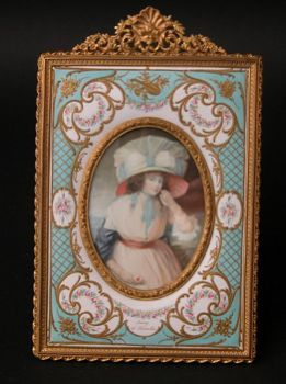 Antique late 19th century painting on ivory with porcelain frame