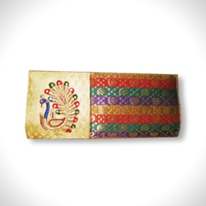 Brocade Clutch   Embroidered Peacock Motif   MRP- Rs. 1495