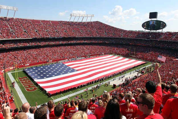 "You're 98% sure that the final word of the national anthem is ""CHIEFS!"" 
