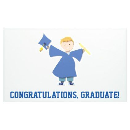 Congratulations Graduate Boy Blue Cap & Gown Banner - graduation gifts giftideas idea party celebration
