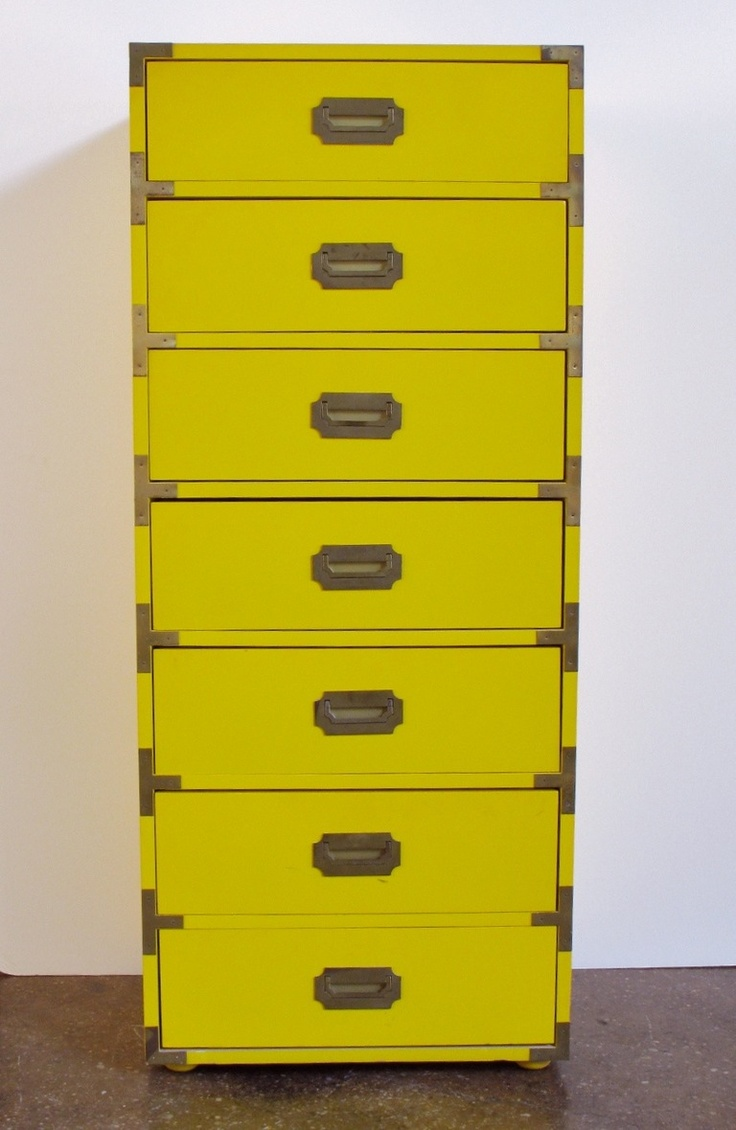 Tall Campaign Style Mid Century Dresser