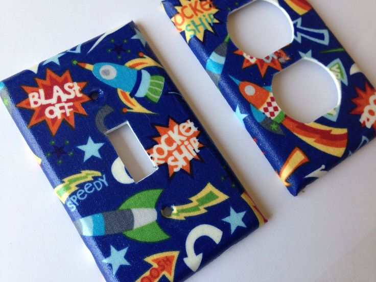 Rocket Ship Light Switch Plate/ Spaceship Bedroom / Boy Room Decor/ Nursery Decor/ Double Toggle Light Switch Cover/ Outer Space Room by COUTURELIGHTPLATES on Etsy https://www.etsy.com/listing/228472000/rocket-ship-light-switch-plate-spaceship