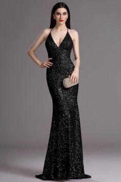 Plesové šaty s flitry černé špagetová ramínka za krk hluboký výstřih na zádech vestavěná podprsenka délka 155 cm