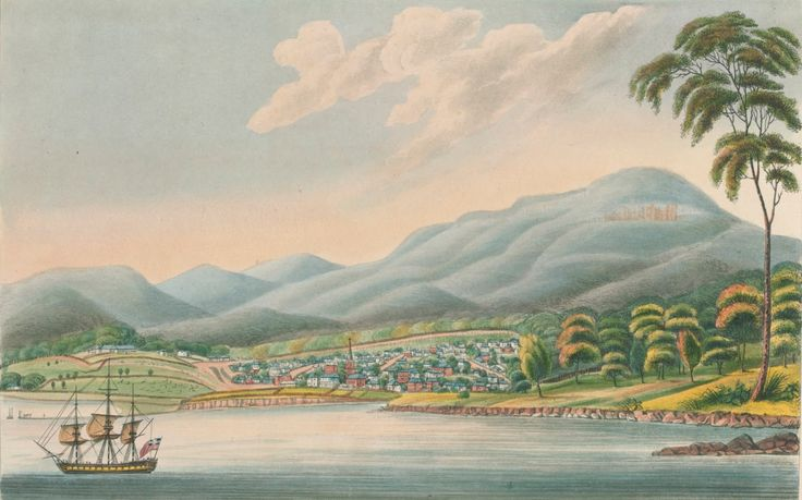 View of Hobart Town, Van Diemens Land - October 1, 1824 - Showing Military Barracks, Hospital and Government House