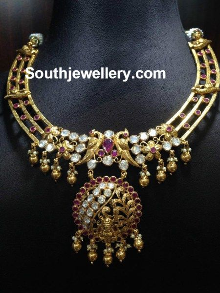 Antique Gold Floral Peacock Necklace - Jewellery Designs