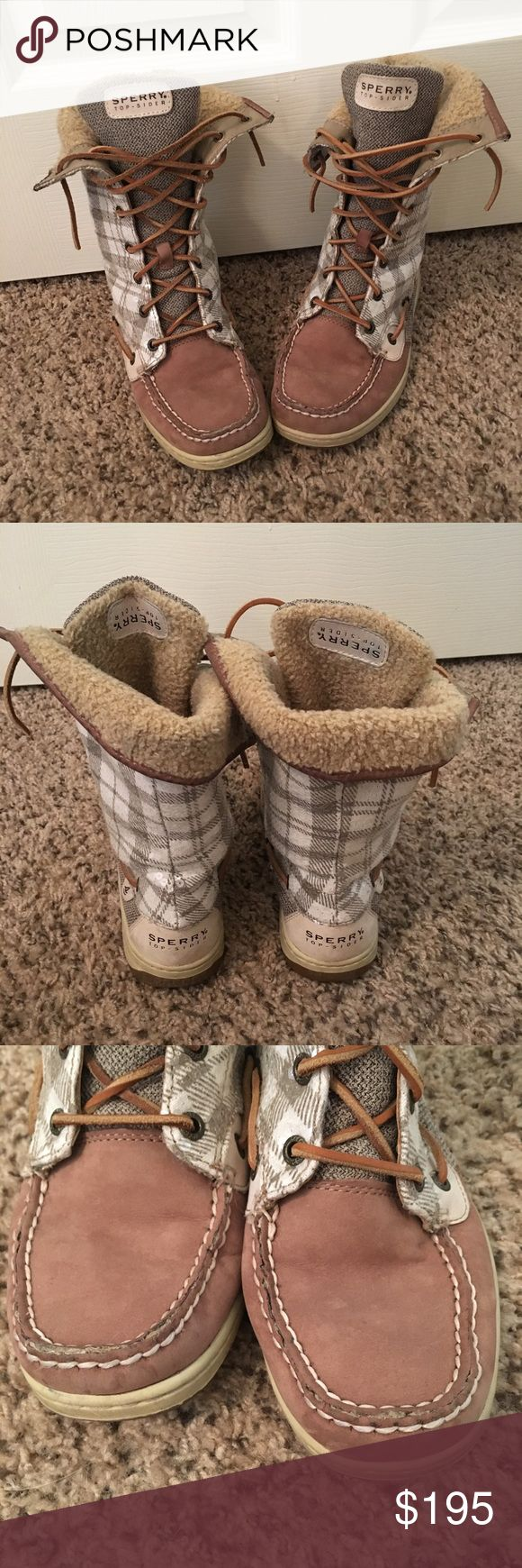🍁SALE🍁Sperry Top-Sider Boots Tan with white plaid and sequins, they fold over or can be left straight, they have been worn, they are still in good condition, they are a size 8.5. Sperry Top-Sider Shoes Lace Up Boots