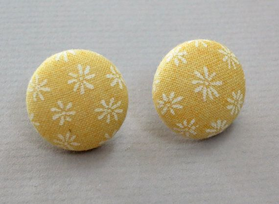 Yellow and White Mini Floral Fabric Covered Button by RatDogInk, $7.00: Floral Fabric