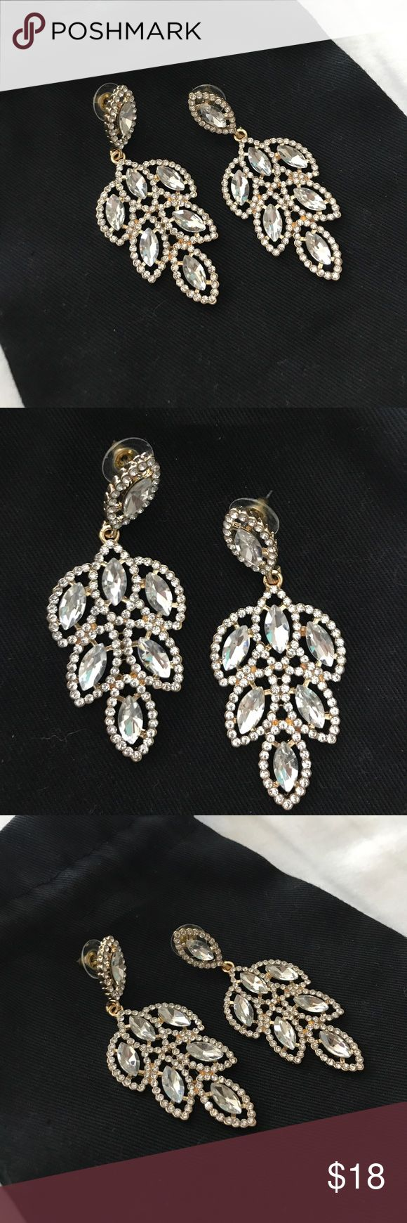 *SALE* Glam Crystal Earrings FINAL PRICE DROP Brand new crystal drop earrings perfect for prom pageant or any special occasion. Gold backings. These earrings are 2.75 inches long by 1.2 inches wide. Jewelry Earrings