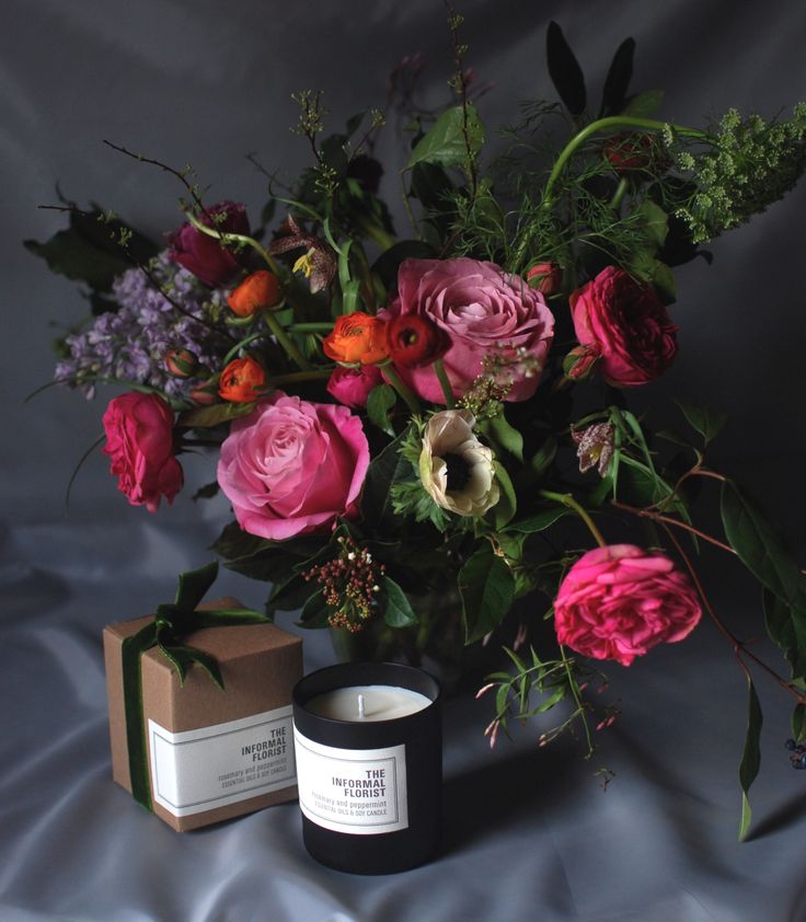 Valentine Flowers & Soy Candle by The Informal Florist