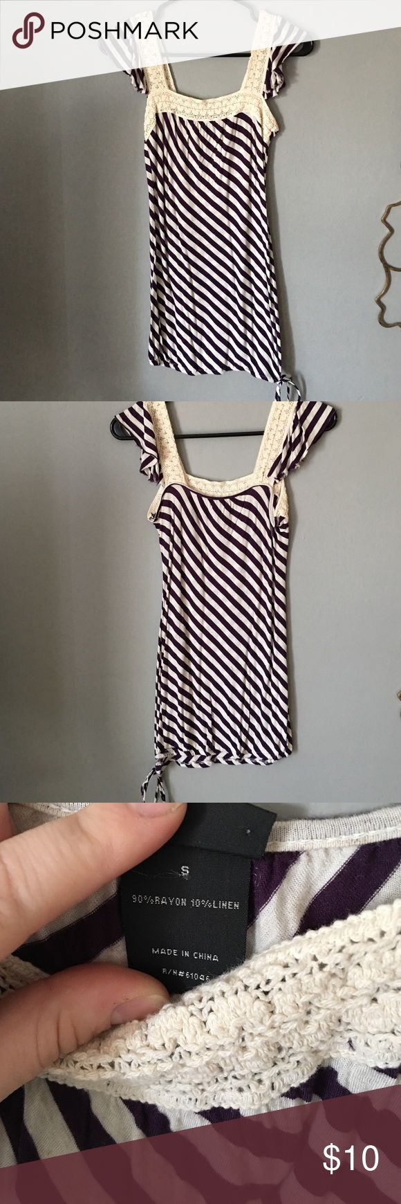 Purple and white striped tank top Purple and white striped tank top with lace sleeves, a tie at the bottom left side Vanity Tops Tank Tops
