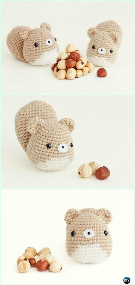 Ganchillo amigurumi ardilla Patrón libre - crochet amigurumi pequeños juguetes del animal del mundo Patrones gratis