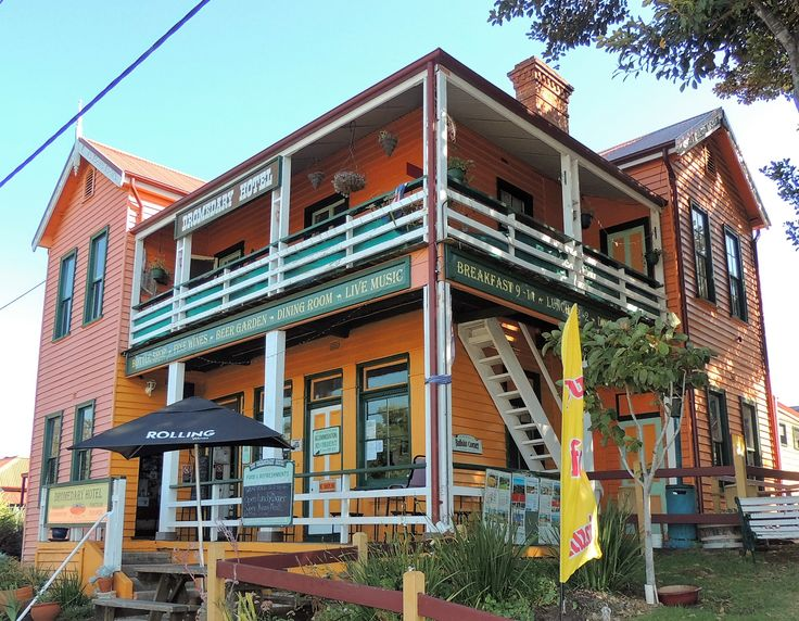 The lovely historic building of the Dromedary Hotel pub in Central Tilba.
