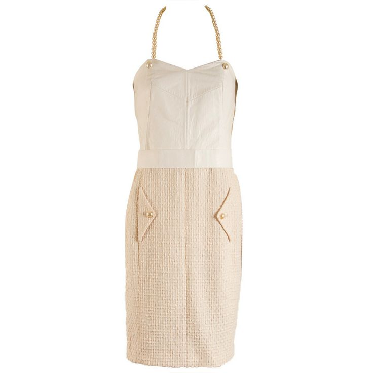 Chanel Creme Leather and Cotton Halter Dress Size 38   From a collection of rare vintage day dresses at http://www.1stdibs.com/fashion/clothing/day-dresses/