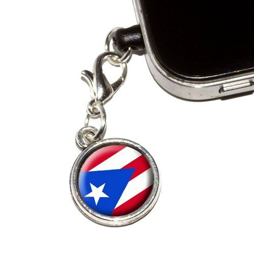 Graphics and More Puerto Rico Puerto Rican Flag AntiDust Plug Universal Fit 35mm Earphone Headset Jack Charm for Mobile Phones  1 Pack  NonRetail Packaging  Antiqued Silver *** More info could be found at the image url.